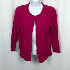 Ann Taylor pink button front cardigan S